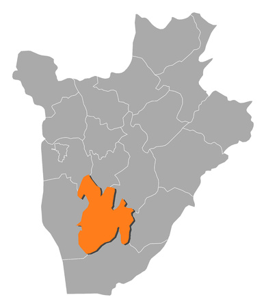 Map of Burundi with the provinces, Bururi is highlighted by orange.