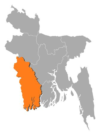 three colored: Map of Bangladesh with the provinces, Khulna is highlighted by orange. Illustration