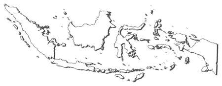 southeastern asia: Map of Indonesia, contous as a black line. Illustration