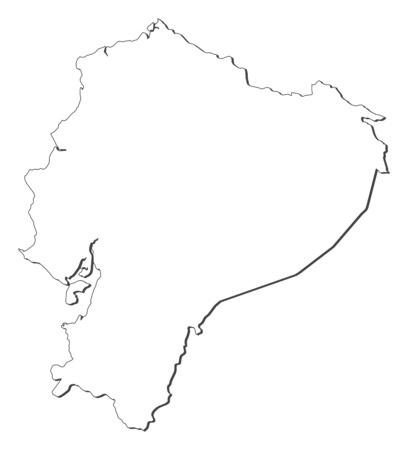 three colored: Map of Ecuador, contous as a black line.