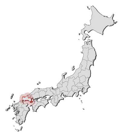 Map of Japan with the provinces, Yamaguchi is highlighted by a hatching.