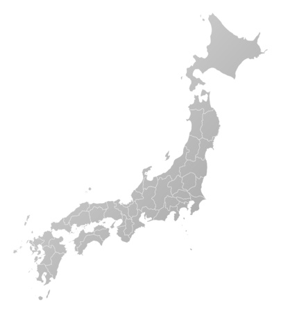 tone shading: Map of Japan, filled with a linear gradient.