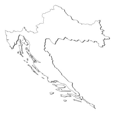 Map of Croatia, contous as a black line.