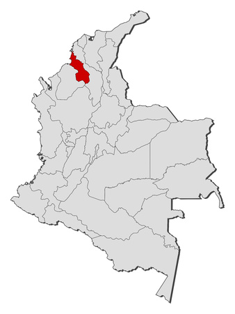 Map of Colombia with the provinces, Sucre is highlighted. Illustration