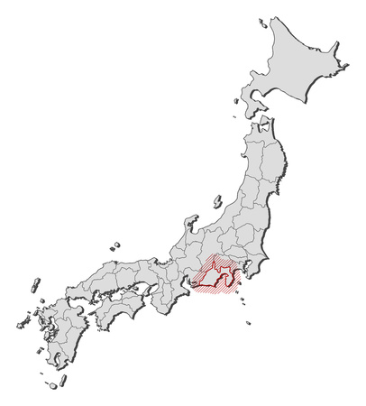 Map of Japan with the provinces, Shizuoka is highlighted by a hatching. Illustration
