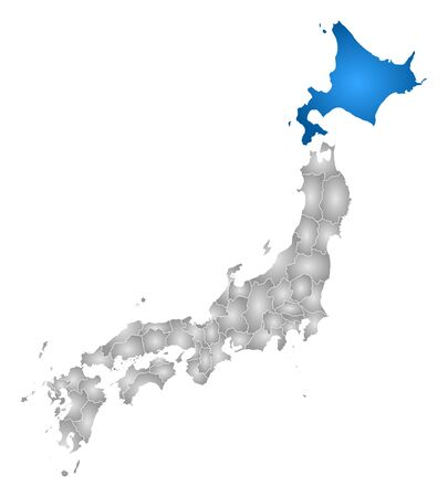 hokkaido: Map of Japan with the provinces, filled with a radial gradient, Hokkaido is highlighted.