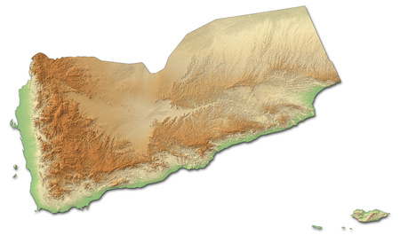 western asia: Relief map of Yemen with shaded relief.