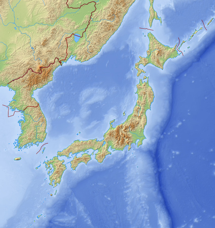 Relief Map of Japan and nearby countries.