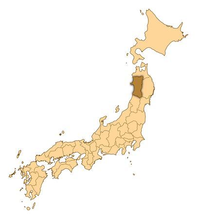 Map of Japan with the provinces, Akita is highlighted. Stock Photo