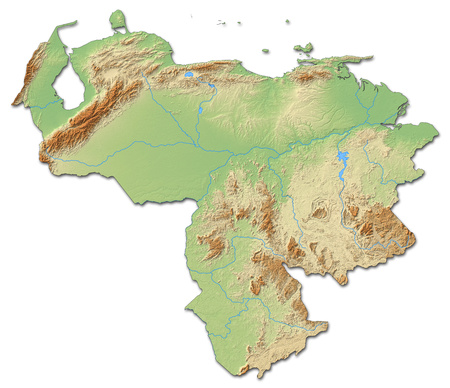Relief map of Venezuela with shaded relief.