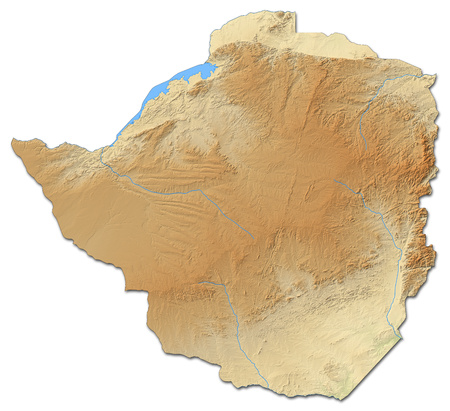 shaded: Relief map of Zimbabwe with shaded relief. Stock Photo