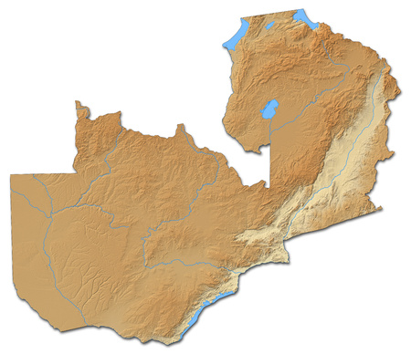 shaded: Relief map of Zambia with shaded relief.