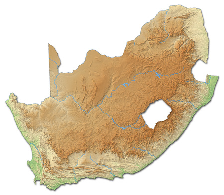 shady: Relief map of South Africa with shaded relief.