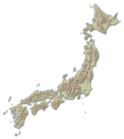 implied: Relief map of Japan, the nearby countries are implied.