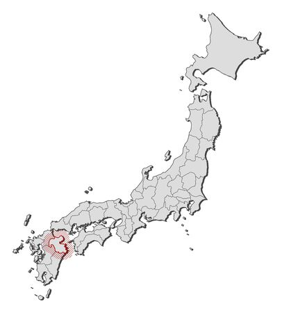hatching: Map of Japan with the provinces, Oita is highlighted by a hatching.