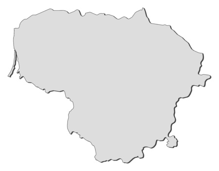 lithuania: Map of Lithuania, filled in gray. Illustration