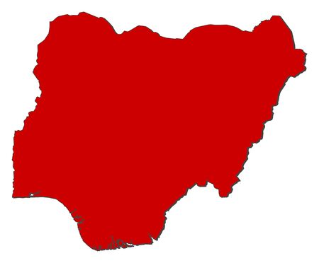 Map of Nigeria with the provinces, colored in red.