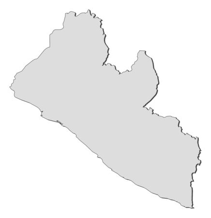 three colored: Map of Liberia, filled in gray.