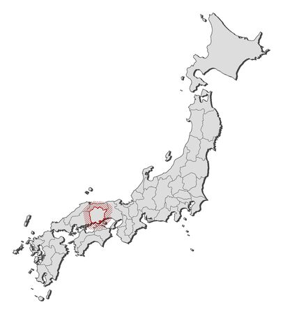 Map of Japan with the provinces, Okayama is highlighted by a hatching.