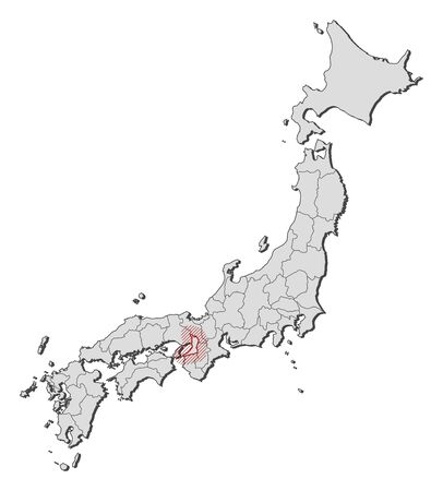 Map of Japan with the provinces, Osaka is highlighted by a hatching. Illustration