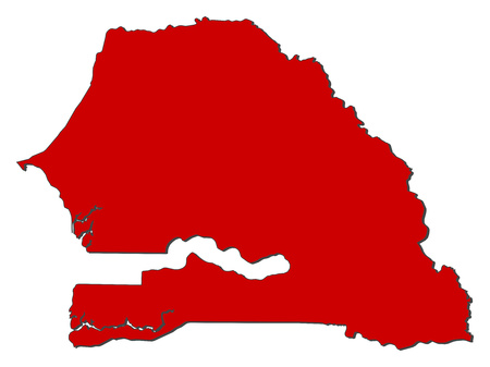 Map of Senegal with the provinces, colored in red.