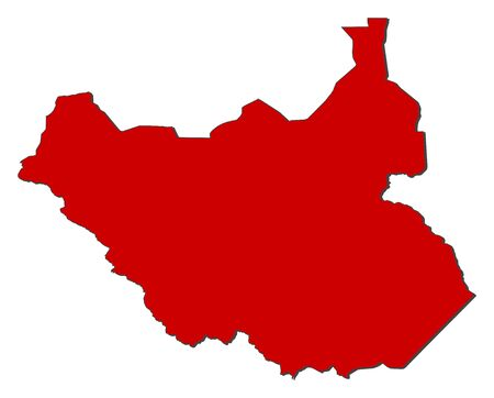 frontiers: Map of South Sudan with the provinces, colored in red.