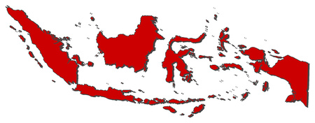 Map of Indonesia with the provinces, colored in red.