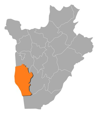 Map of Burundi with the provinces, Rumonge is highlighted by orange. Illustration