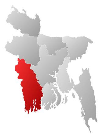 frontiers: Map of Bangladesh with the provinces, filled with a linear gradient, Khulna is highlighted. Illustration