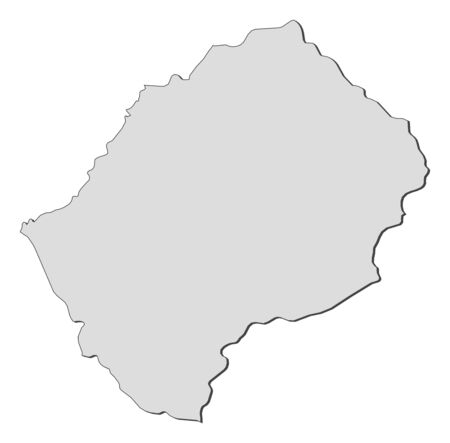 frontiers: Map of Lesotho, filled in gray.