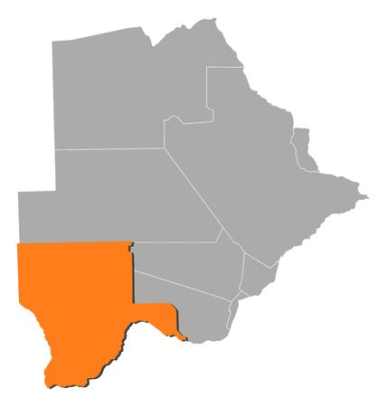 kgalagadi: Map of Botswana with the provinces, Kgalagadi is highlighted by orange.