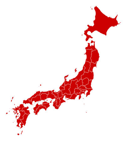 Map of Japan in black with the provinces.