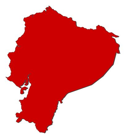 republic of ecuador: Map of Ecuador with the provinces, colored in red. Illustration