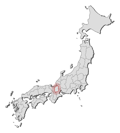 Map of Japan with the provinces, Shiga is highlighted by a hatching.