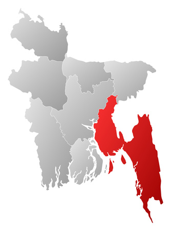 Map of Bangladesh with the provinces, filled with a linear gradient, Chittagong is highlighted. Illustration