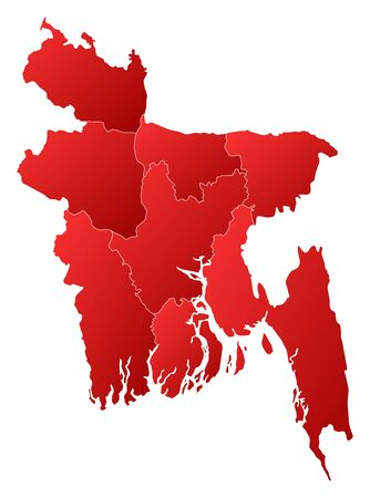 Map of Bangladesh with the provinces, filled with a linear gradient. Illustration