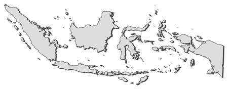 southeastern asia: Map of Indonesia, filled in gray.
