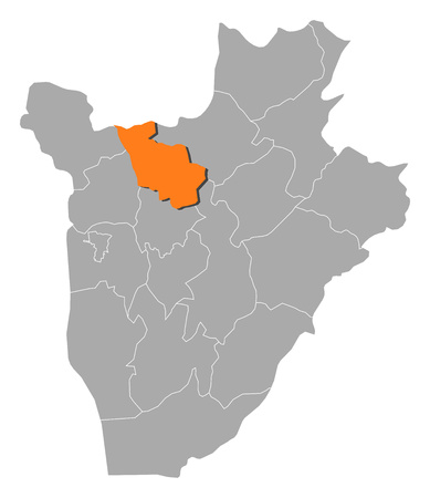 Map of Burundi with the provinces, Kayanza is highlighted by orange. Illustration