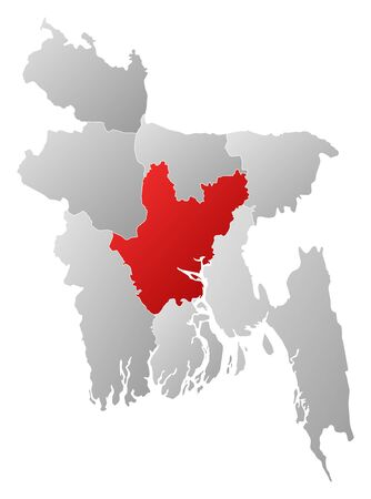 Map of Bangladesh with the provinces, filled with a linear gradient, Dhaka is highlighted.
