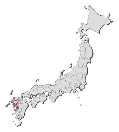 hatching: Map of Japan with the provinces, Saga is highlighted by a hatching.