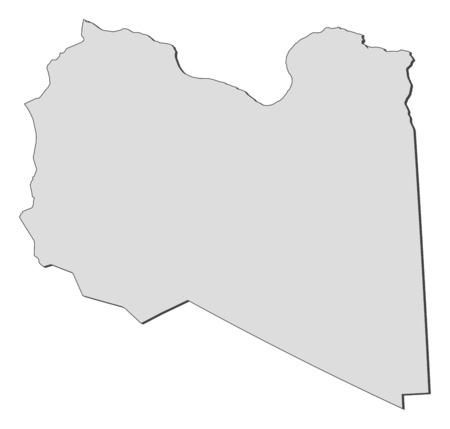 lybia: Map of Libya, filled in gray. Illustration
