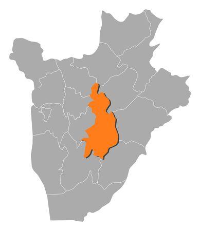 Map of Burundi with the provinces, Gitega is highlighted by orange.