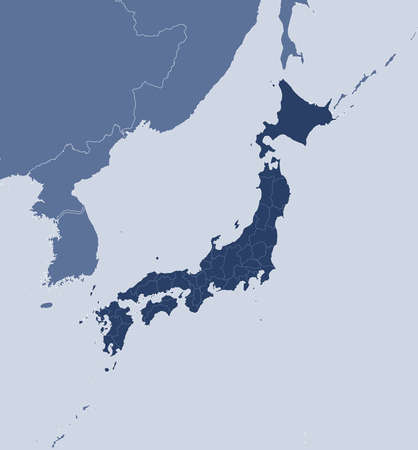 Map of Japan and nearby countries, Japan is highlighted. Illustration
