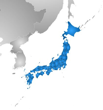 Map of Japan with the provinces and nearby countries, filled with a radial gradient.