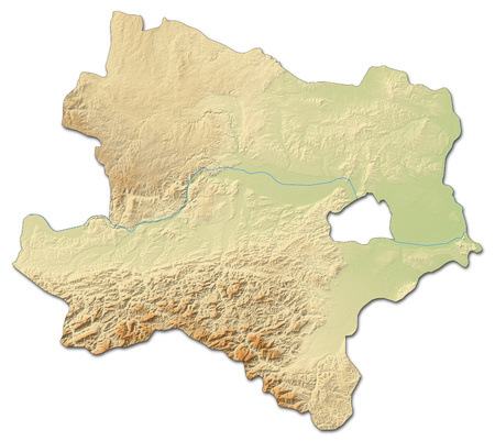 Relief map of Lower Austria, a province of Austria, with shaded relief. Stock Photo