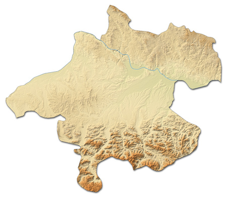Relief map of Upper Austria, a province of Austria, with shaded relief.