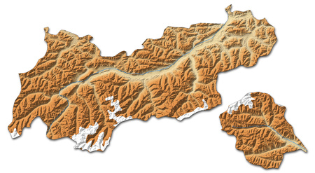 Relief map of Tyrol, a province of Austria, with shaded relief.