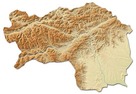 Relief map of Styria, a province of Austria, with shaded relief.