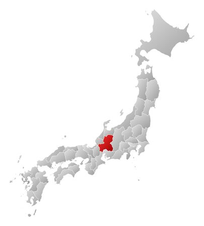 gifu: Map of Japan with the provinces, filled with a linear gradient, Gifu is highlighted.