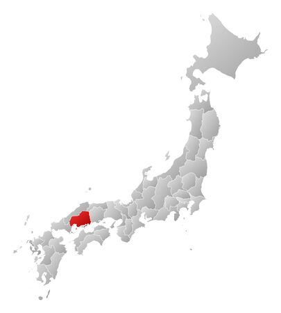 hiroshima: Map of Japan with the provinces, filled with a linear gradient, Hiroshima is highlighted.